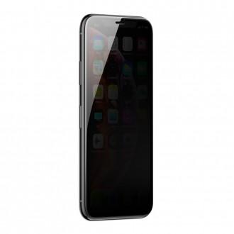 Стъклен протектор 3D за целият екран Baseus Full Glue, Anti-Spy покритие, подсилена рамка, за iPhone XS Max, черен