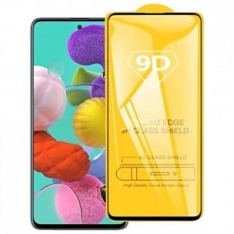 Стъклен протектор за целият екран 9D за Samsung A71 ,черна рамка