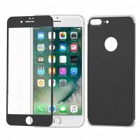 Стъклен протектор за целият екран Wozinsky Full за Iphone 7 Plus / Iphone 8 Plus с алуминиева рамка + гръб , черен
