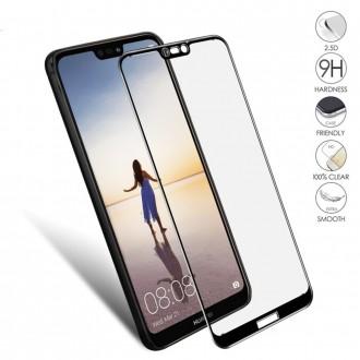 Стъклен протектор за целият екран за Huawei P20 Lite черен 5D