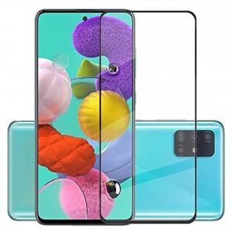 Стъклен протектор за целият екран за Samsung A71 ,5D Full Glue ,черен