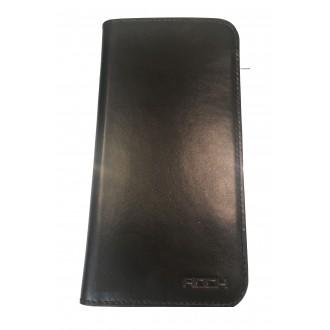 Страничен калъф естествена кожа Rock за HTC One M8 черен