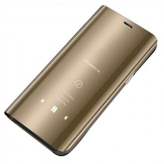 Страничен калъф кейс Clear View Cover за Xiaomi Redmi Note 7 златен