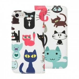 Страничен калъф тип тефтер Decor Book ,за iPhone 7 Plus/ iPhone 8 Plus, котки