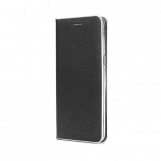 Страничен калъф тип тефтер Luna Book за Samsung Galaxy A10 черен със сребрист кант