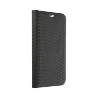Страничен калъф тип тефтер Luna Carbon за Samsung A20s, Черен