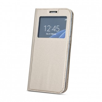 Страничен калъф тип тефтер за Huawei Mate 10 Lite с прозорче златен