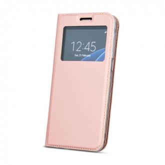 Страничен калъф тип тефтер за Huawei Y7 Prime 2018 , с прозорче розово злато