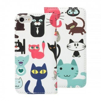 Страничен калъф тип тефтер за Iphone 6G/6S Decor Book -котки
