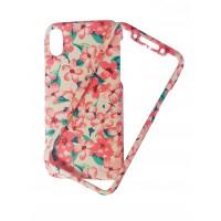 Твърд гръб кейс за iPhone X розов цветя 360°