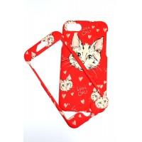 Твърд гръб за iPhone 7/8 кейс Art червен котенце 360°