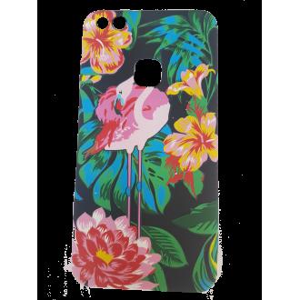 Силиконов калъф кейс за Huawei P8 Lite 2017 / P9 Lite 2017 черен с фламинго