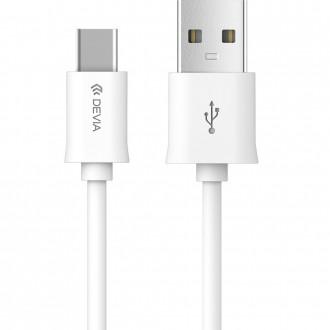 USB кабел Devia type-C 1m бял