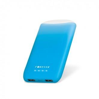 Външна преносима батерия 8000 MAH Forever Power Bank синя с фенерче
