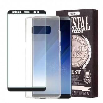 Стъклен протектор за целият екран и силиконов гръб Remax зa Samsung Galaxy Note 8