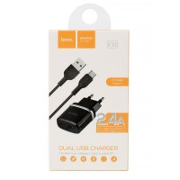 Зарядно устройство 220V 2.4A 2xUSB + кабел Typ C