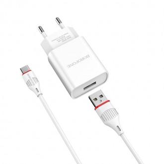 Зарядно устройство 220V Borofone 2.1A + USB Tipe C ,бяло
