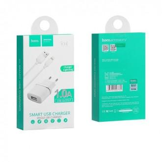 Зарядно устройство 220V HOCO 1A + кабел за iPhone Бяло