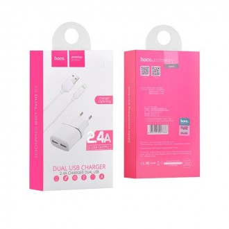 Зарядно устройство 220V HOCO C12 2.4A  2xUSB + кабел за iPhone Бяло
