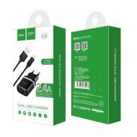 Зарядно устройство 220V HOCO 2.4A 2xUSB + кабел за iPhone черно